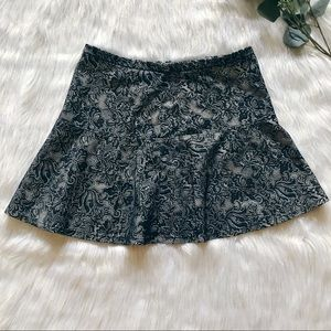 Express Black and Cream Lace Mini Skirt